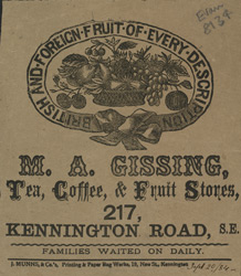 Advert For M. A. Gissing, General Grocer
